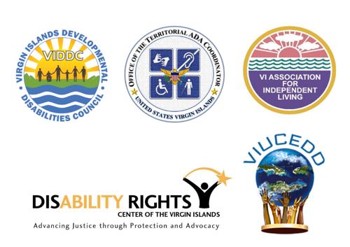 VIDDC, ADA Coordinator of VI, VIAIL, DRCVI and VIUCEDD logos